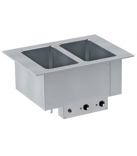 Drop-in warming tray with manual drain (depth 210 mm)